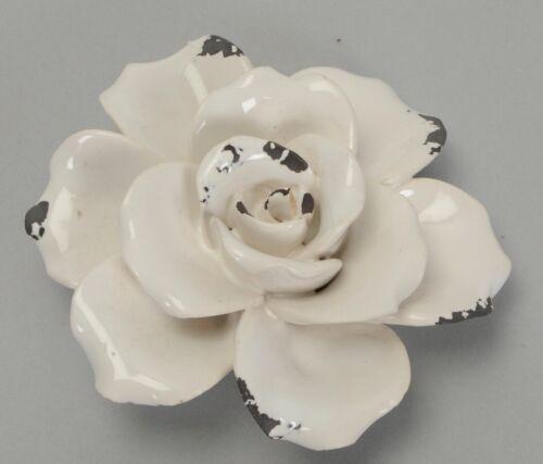 Small White Ceramic Rose Chic Distressed Gift Present Birthday Anniversary