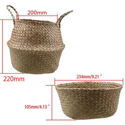 Seagrass Belly Basket Plant Pot Laundry Storage Holder Organizer Bag Home Decora