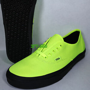 e5f3d5b079 VANS AUTHENTIC BLACK OUTSOLE NEON GREEN BLACK MEN S SKATE SHOES ...