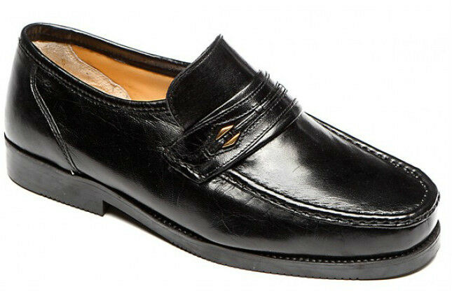 Mens shoes Leather Extra Wide E Fitting Moccasin Slip On Size