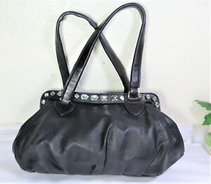 fcfb6441c46 Image is loading MIU-MIU-Black-Leather-Diamante-Tote-Shoulder-Sling-