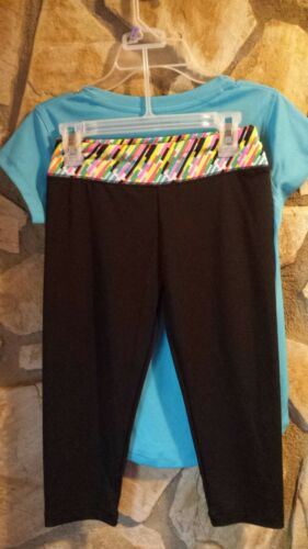 NWT Zone Pro Girls 2 pc Top Can/'t Stop Me Now /& Black Capri Pant Set 7//8 #GC3