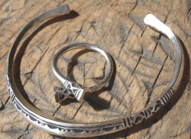 Niger Tuareg hand engraved ring UKQ and fine bracelet silver colour set