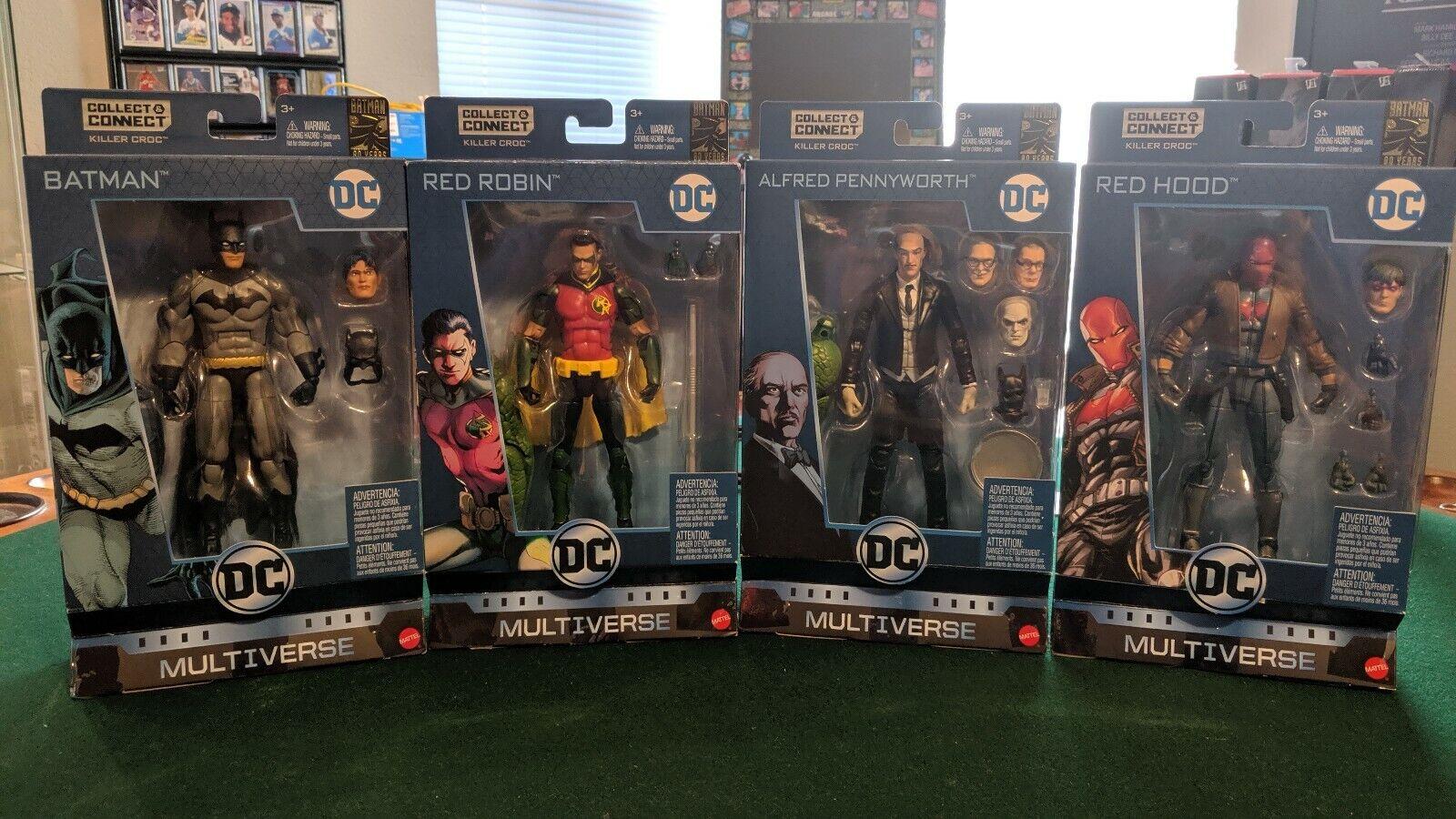 DC Multiverse Batman, Robin, Alfred, and Red Hood NEW Killer Croc C&C