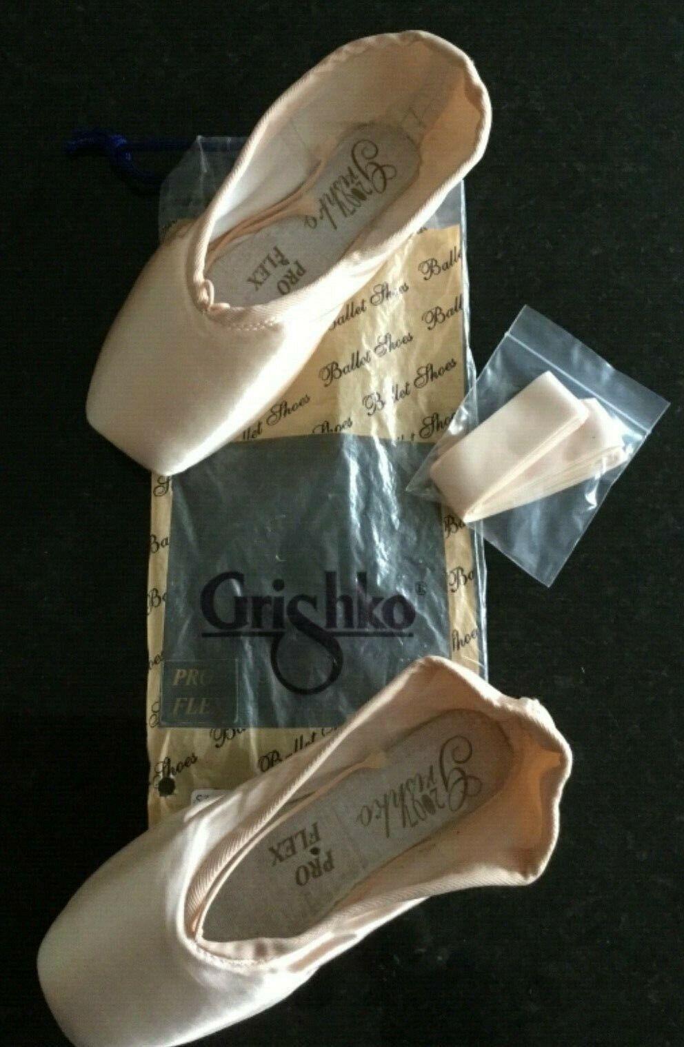 GRISHKO Pro Flex Pointe Shoes & Ribbons supplied. Sz 2 to 7.5 -Widths X to XXXXX