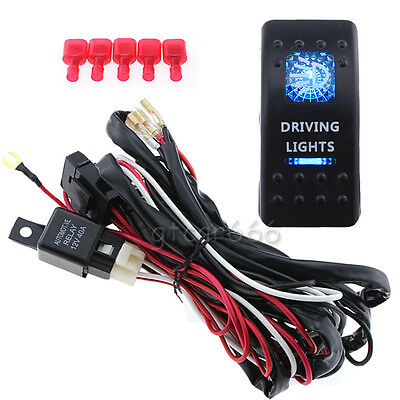 12VCar SUV Driving Light Wiring Harness 40A Relay + Rocker Switch Controller Kit