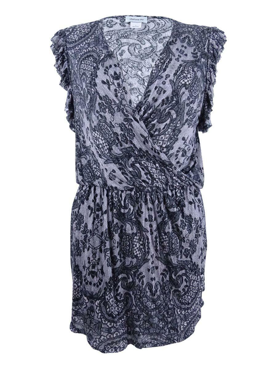 Chelsea Sky Woherren  sky Lace-Print Ruffled Dress (S, schwarz)