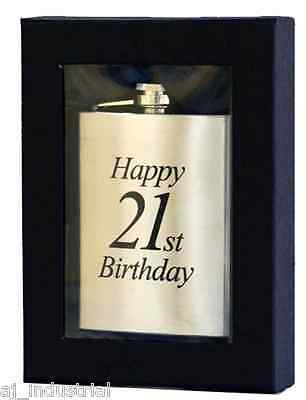 Personalised 21st Birthday Flask+Gift Box Free Engraving Boys Girls Gift Present