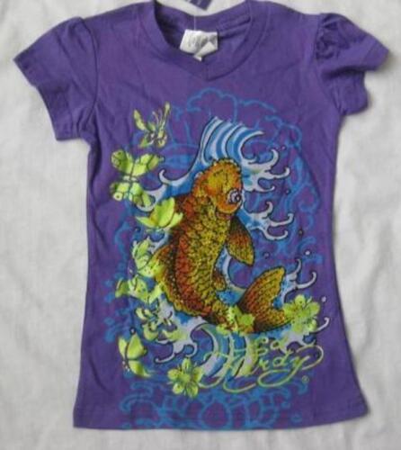 ED HARDY girls 4 5 kids purple koi fish rhinestone t-shirt tee top crystals NEW