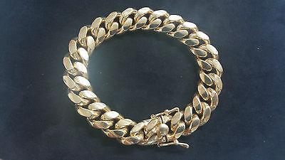"""Jewelry & Watches Generous 8.5 """" Miami Cubana Catenella Con Maglie Bracciale 14k Giallo Oro Sopra"""