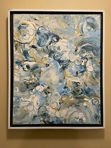 Blue and Gold Abstract original modern acrylic canvas painting | ships free