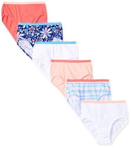 Hanes Big Girls Cotton Brief 6-Pack Select SZ//Color.