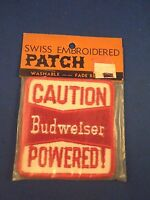 Vintage Budweiser caution Powered Beer Sew On Patch - Trucker Hat Jacket Style