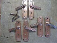 3 Prs Original Reclaimed 1932 Art Deco Brass Sunbeam Door Lever Handles 0142
