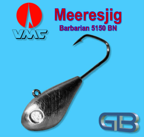 Meeresjig Dorschbombe 50g, 90g Jig Bleikopf VMC Barbarian 5150 BN 5/0, 6/0.