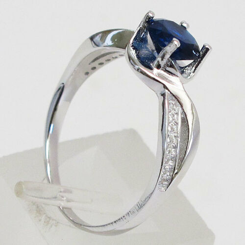 Élégant 1 Ct Round Cut Sapphire STERLING 925 SILVER RING Taille 5-10