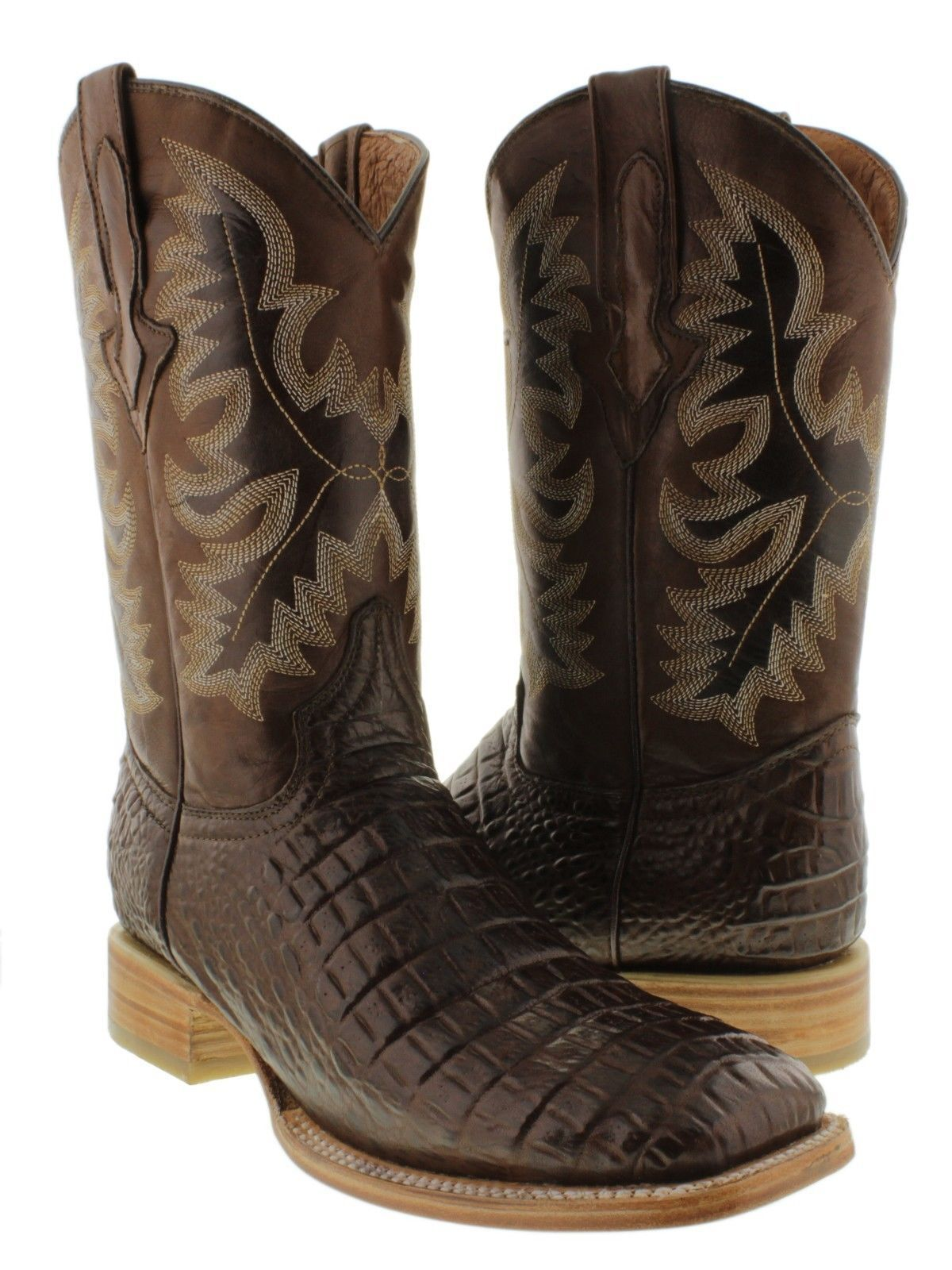 Mens Natural Sole Browm Exotic Crocodile Belly Cut Leather Cowboy Boots Square