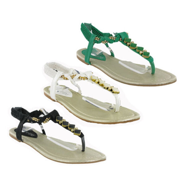 Flat Strappy Slip On Fancy Jewelled Sandals Casual Smart Dress Womens Sandals Jewelled UK4-8 567496