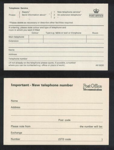 RW192 GB Mint postcards to//from GPO requesting /& advising new telephone number