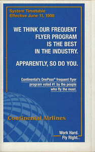 Continental Airlines system timetable 9//7//00 Buy 2 Get 1 Free 308CO