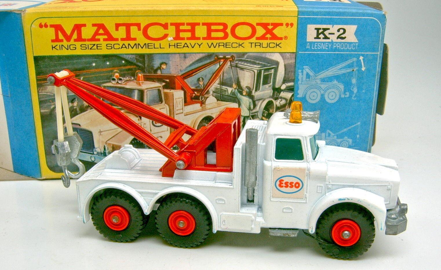 Matchbox KingSize KingSize KingSize k-2c SCAMMEL WRECK TRUCK blanc verte vitres Top Dans Box | élégant  251b2e