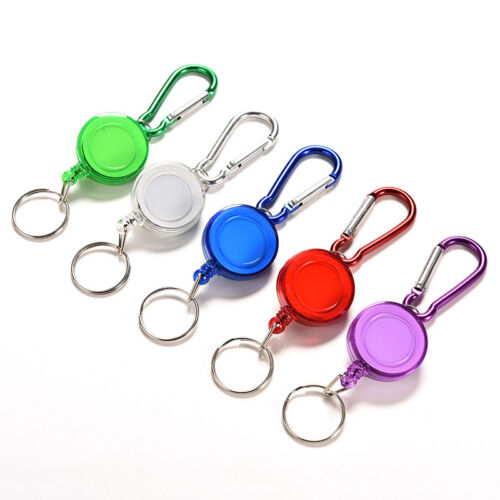 2X Colourful Retractable Strap Carabiner Clips Card Label Key Chain FancyGift J/&