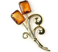 Nolan Miller Crystal Flower Buenos Aires Simulated Topaz Pin Brooch