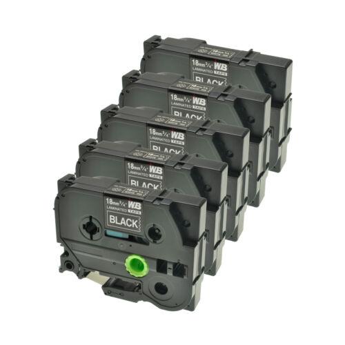 5 Schriftbänder kompatibel zu Brother P-Touch TZE-345 8m//18mm Weiß auf Schwarz