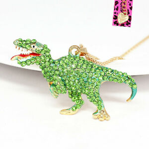 Betsey-Johnson-Enamel-Crystal-Dinosaur-Tyrannosaurus-Pendant-Chain-Necklace