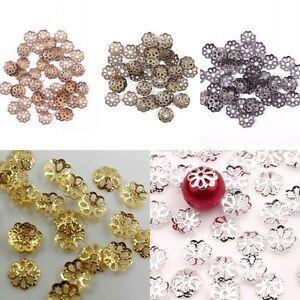 500Pcs Metal Filigree Flower Bead End Caps Findings Jewelry Making DIY  6mm