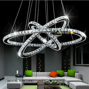 sonderangebot 80 60 40cm dimmbar led kristall pendelleuchte deckenleuchte ebay. Black Bedroom Furniture Sets. Home Design Ideas