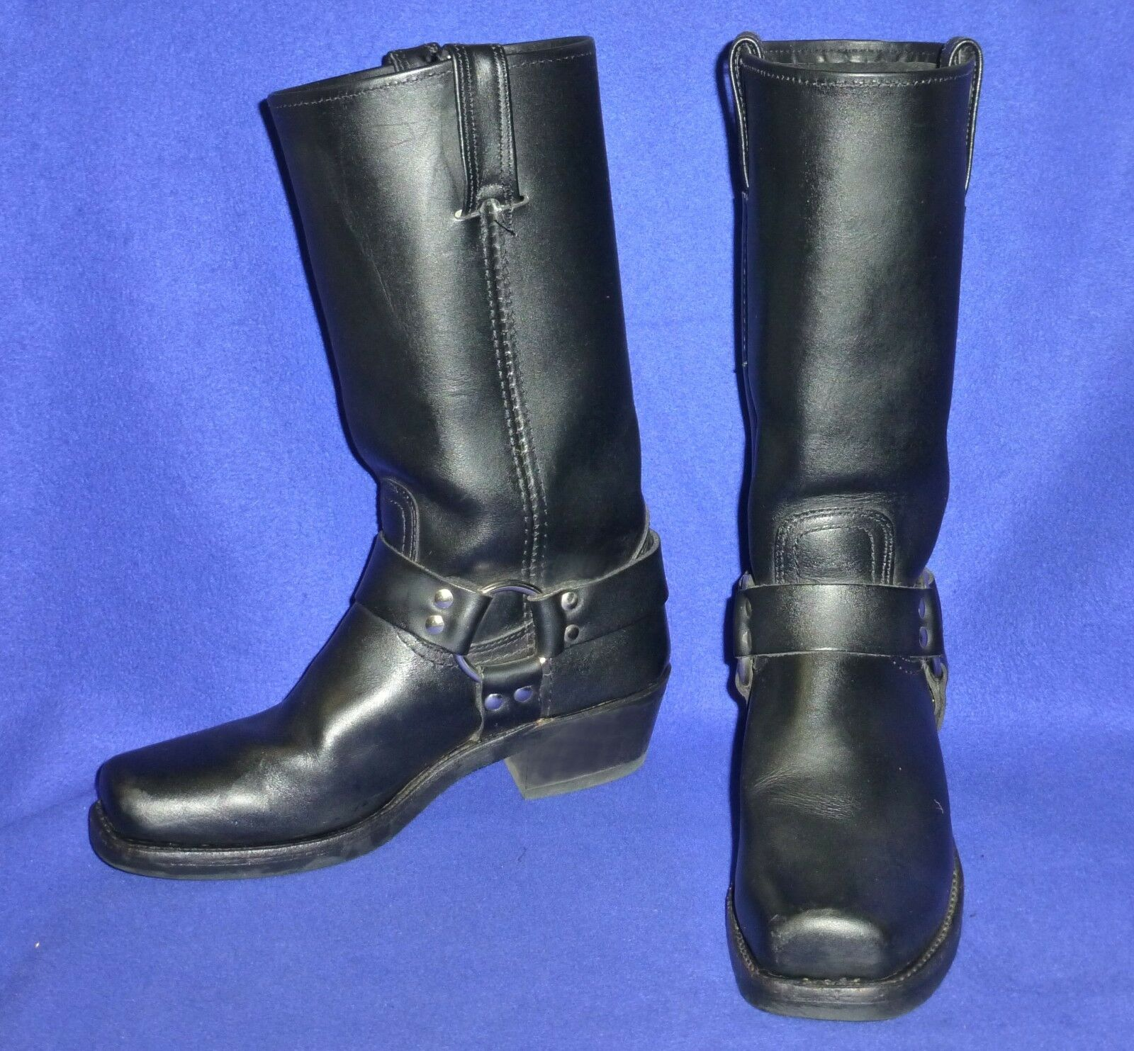 7 M EXCELLENT 77300 GENUINE FRYE HARNESS BLACK 77300 EXCELLENT  WOMENS BIKER MOTORCYCLE BOOTS 45b149