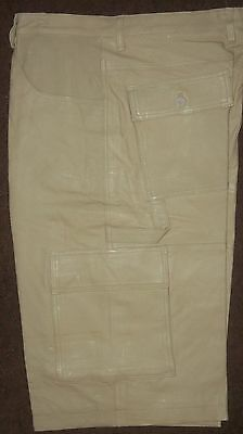Mens GENUINE LEATHER, LONG LEG BERMUDA SHORTS beige tan 32, 36, 38