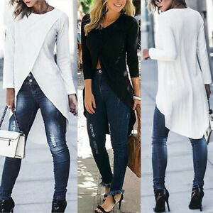 Women-Long-Sleeve-Tops-Tunic-Forking-Irregular-Slim-Fitted-Blouse-Pullover-Shirt