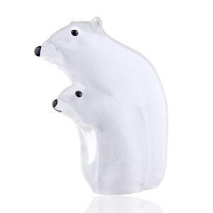 White-Glass-Polar-bear-Ornament-Art-Glass-Blown-Sea-animal-Figurine-Home-Decor