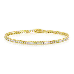 Sterling-Silver-with-14k-Gold-Overlay-2mm-Square-Princess-Cut-CZ-Tennis-Bracelet