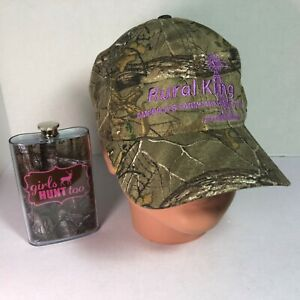 Camo-Cap-Hat-Flask-LOT-Womens-M-5-Oz-GIRLS-HUNT-TOO-Pink-Purple