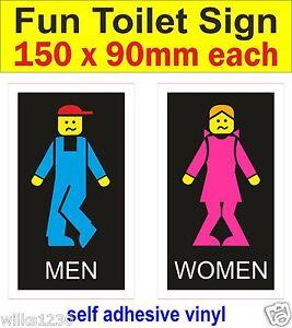 2 Couleur TOILETTE signes Homme Femme Autocollants WC Drôle Humour salle de bain porte decals