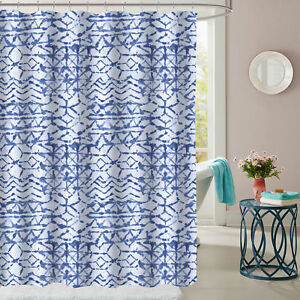 Image Is Loading McKenzie Blue Geometric Pattern Fabric Bathroom Shower Curtain