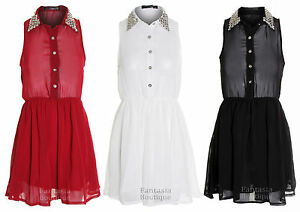 convenience goods enjoy free shipping cozy fresh Details about Ladies Silver Studded Black Red White Collar Shirt Dress  Women's Chiffon Blouse