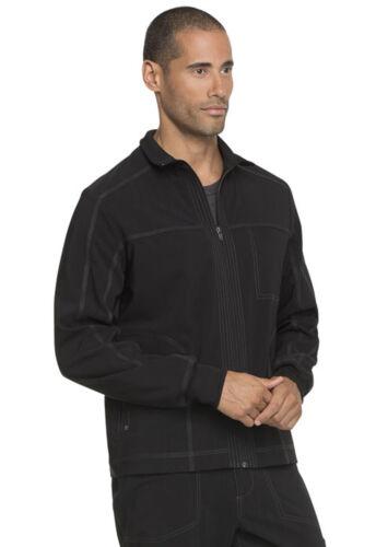 Black Dickies Scrubs Advance Solid Tonal Twist Mens Zip Front Jacket DK335 BLK