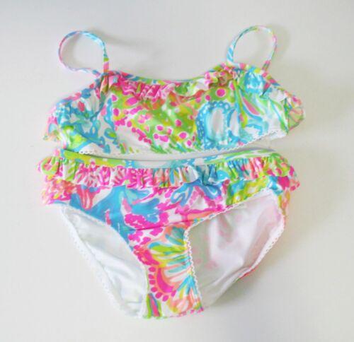 NWT Lilly Pulitzer Girls Mora Bikini Swimsuit Lovers Coral Multi Sz 3