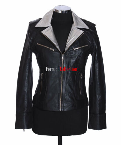 Smart Lambskin Retro Jacket Ladies Leather Rachel Collar Black Vintage Silver wp04xqIv1