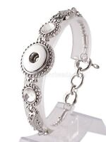 Silver Rhinestone Single 18-20mm Snap Charm Bracelet For Ginger Snaps Jewelry