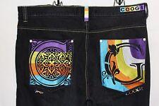 Authentic Australian COOGI Jeans 46W X 36L Embroidered Rainbow C & G Dark Denim