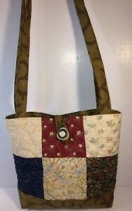 Quilted-Charm-Square-Tote-Bag-w-Coordinates-Buttons-Closer-2-Pockets-12-034-x10-034-x3-034