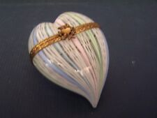 Murano Art Glass LATTICINO Stripe Heart Box ( S )