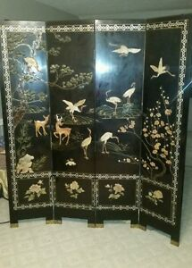 Antique Asian Room Screen Hand Painted