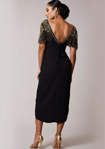 Party Gewickelt Kleid Bis Virgos Cocktail Lounge Verziertes Julisa Midi 6 Black wU1Xn86tXq