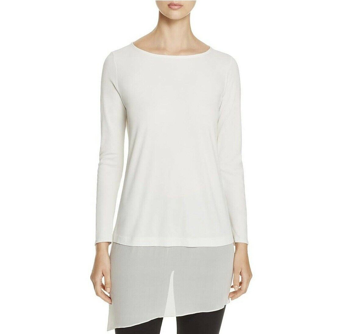 NEW Eileen Fisher Bateau Neck Layerot Tunic Top Shirt Asymmetric Hem Sz PM